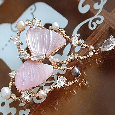 OUYANG Madre di perla farfalla in cristallo Austria goccia pendente maglia scialle spilla