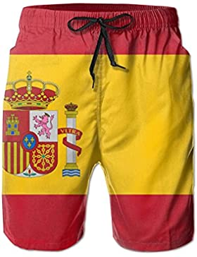 Funny Caps Spain Flag Men's/Boys Casual Quick-Drying Bath Suits Elastic Waist Beach Pants with Pockets