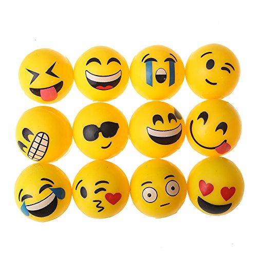 12 LED Springbälle mit Emoji Design | Leuchtflummi für Kinder | Gummibälle Leuchtbälle mit Blinklicht als Mitgebsel Geschenk für Geburtstag Kinderparty | Partygag