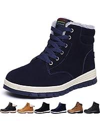 0e6fe061844a6 SIXSPACE Botte Homme Neige Hiver Caoutchouc Chaussures de Chaude Fourrees  Mode Bottine Femme en Cuir Boots