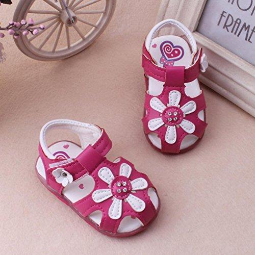 Chaussures de bébé,Transer ® Bébé filles 3-5.5 ans Toddler nouvelles sandales tournesol éclairé Soft-semelle chaussures Princess Rose vif