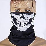 Dulcii Multi-fonction Serviette mouchoir de tête en motif de crâne Echarpe extensible sans couture pour moto vélo randonnée ski snowboard etc. 25cm x 25cm±1cm (Squelette)