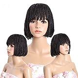 Meisi Cheveux raides Cheveux courts Perruques Kanekalon résistant à la chaleur synthétique Boîte tressée des Perruques pour femme noire, gratuit supplémentaire Afro Coiffure