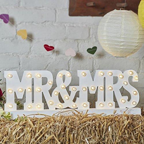 """Holzschriftzug """"Mr & Mrs"""" mit LED-Beleuchtung - Weißer Schriftzug aus Holz"""