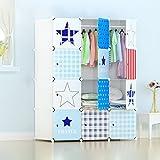 Lewie-Wardrobe Kinder Cartoon Baby Kleiderschrank Einfache Kombination von Kunststoff Baby Kleiderschrank Aufbewahrungsschränke Klappschrank montiert (Farbe : White)