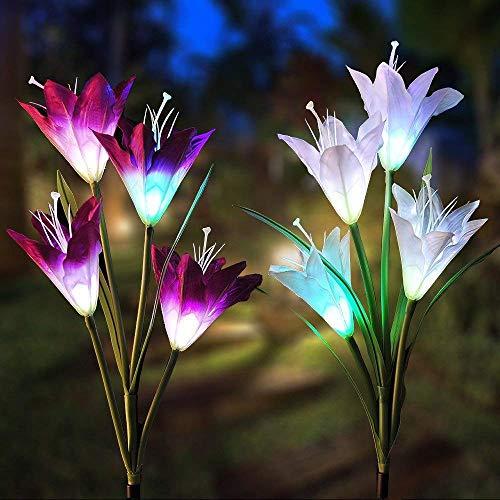 Solarleuchte Garten, Vegena 2 Stück Solar Garten Lampen Lilie Blumen Solarlicht mit Farbwechsel LED Lampen, Außen Dekoration Lichter für Garten, Terrasse, Backyard - Garten-lampen