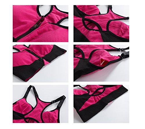 Nanxson(TM) Femmes Soutien-gorge/Bra Sportif Zippé Réglable Sans Armature Pour Sport Yoga Course Gymnastique YDSW0014 Noir