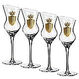 Prime Presents Grappagläser 4er Luxus-Set Branntwein-Gläser für Obstler-Williams Schnaps & Liköre Schnapsgläser Obstbrandgläser Kristall-Glas geschrägter Rand Grappa-gläser