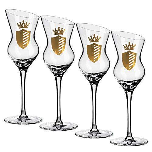 Lot de 4 verres Grappa de luxe de verres de vin d'incendie pour Obstler Williams & liköre   Verres à schnaps au lave-vaisselle cristal de glas  geschrägter bord