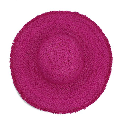 CCLLc Mode-Sommer-Frauen-Natürlicher Raffiabast-Strohhut-Hut Breiter Brim Dome-Eimer-Hut Elegante Dame Folding Sunbonnet Strand-Hüte, Rosenrot