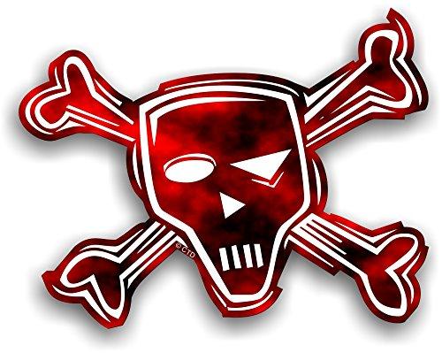 Retro estilo motero Rojo Diseño de calavera y de calavera pirata de...