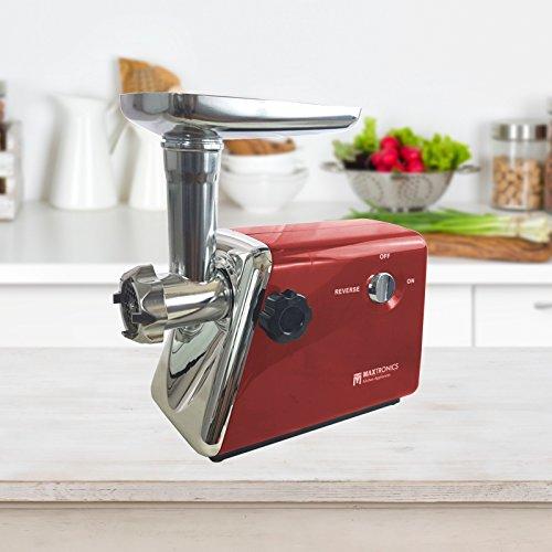 FRX Elektrischer Fleischwolf 500 Watt Rot Fleisch Wolf elektrisch Meat grinder Hack Wurstmaschine Mehrzweck-Reibe mit Edelstahl-Klingen (Rot)