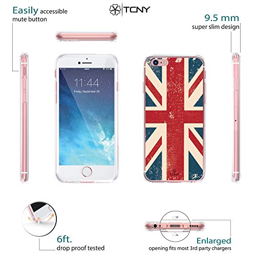 iPhone 6s Anchor Case - True Color Clear-Shield Nautical Coral Anchor on Stripes Printed on Clear Back - Perfect Soft and Hard Thin Shock Absorbing Dustproof Full Protection Bumper Cover British UK Flag