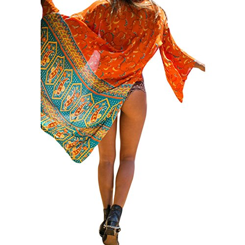 PU&PU Frauen Strand Mehrfarben Kimono Cover-up Boho Druck Chiffon Cardigan für Bikini as figure