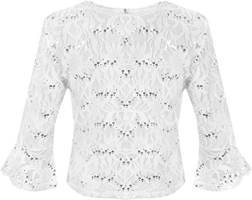 WearAll - Cardigan court pailleté en dentelle avec un noeud et les manches mi-longues et évasées - Cardigans - Femmes - Grandes tailles 40 à 54 Blanc
