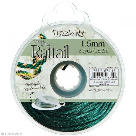 Dazzle-It rattail nylon cord 1,5mm 18m dark hunter green Hunter Green Cord
