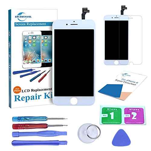 Weiß Touch Screen (Er-estavel LCD Reparaturset For iPhone 6 4.7