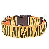 WENXX Superhelles Leuchtendes LED Hundehalsband Zebra-Farbigen Leuchtenden Haustier Hundehalsband Einstellbar,Yellow,L