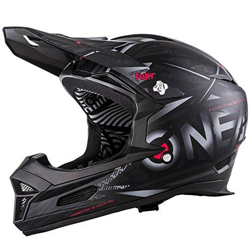 O'Neal Fury RL Fahrrad Downhill Helm Synthy Action Cam Mount Halterung FR MTB Mountain Bike Fullface, 0499-7, Farbe Schwarz, Größe L