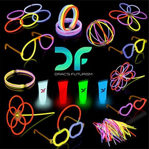 Dracs Futurism Party-Leuchtstäbe alsHalskette,Armband, Gläser, Blumenund Bälle, 100 StückPremium-Leuchtstäbe