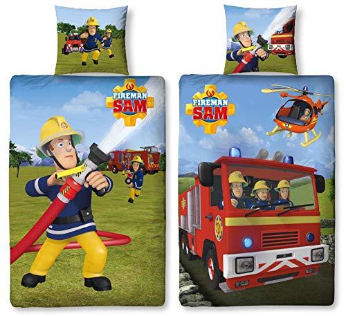 e Bettwäsche Feuerwehrmann Sam, 135 x 200 cm 80 x 80 cm, 100% Baumwolle, 2 Motive auf Einer Bettwäsche (100% Baumwolle Biber/Flanell) ()