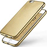 moex iPhone 6S | Hülle Gold Karbon Optik Pulse Back-Cover Schutzhülle Ultra-Slim Silikon Handy-Hülle für iPhone 6/6S Case Carbon Silikonhülle Tasche