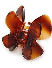 Tamaño mediano mariposa marrón acrílico pelo pinza para–60mm de ancho