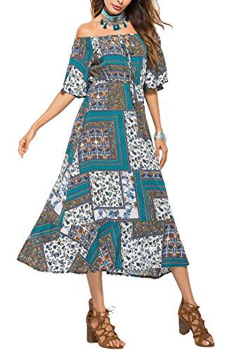 Ufatansy Damen Sommerkleider Spitze lange Ärmel Schulterfreies Kleid Weißes Strandkleid Swing Boho Kleid (2, XXL)