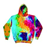 Colortone Unisex Rainbow Hoodie / Kapuzenpullover, Batik-Optik (Medium) (Bunter Regenbogen)