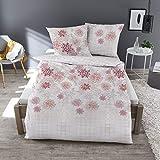 Dormisette Feinbiber Bettwäsche Blüten weiß 135x200 cm + 80x80 cm