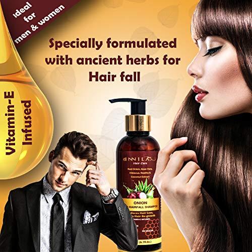 Innila Red Onion Shampoo for Anti-Hair fall and Dandruff with Aloe-Vera, Hibiscus Extract, Reetha,Coffee Extract,Sheekakai,Coconut Extract,Vitamin E - All Hair Types (SLS & Paraben Free)