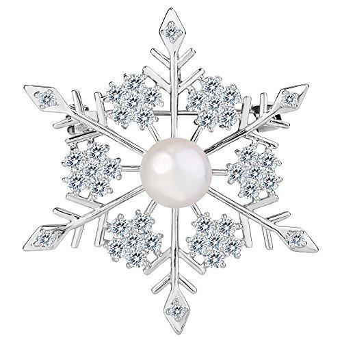 TENYE CZ künstliche Perle Winter Party Schneeflocke Blume Brosche Pin klar Silber-Ton