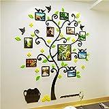 S.Twl.E Kreative Bilderrahmen Wand Foto Baum 3D Kristall Acryl Feste Wandhalterung Schlafzimmer Wohnzimmer Sofa Hintergrund dekoriert mit Plakaten, Black Sticks + Licht Grün + Gelb, groß.