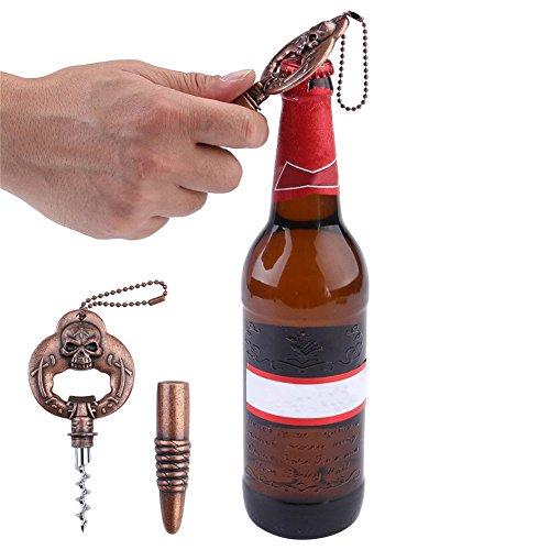 AIDEAL Vintage Persönlichkeit schädel Korkenzieher Öffner , Multifunktionale rot Wein Bier Flaschenöffner Anhänger , Zink Legierung