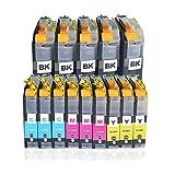 14x für Brother LC123 XL Druckerpatronen - kompatiebel mit Brother MFC-J470DW, MFC-J870DW, MFC-J245, DCP-J132W, DCP-J152W