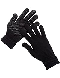 MEGA DEAL 3 Pairs Mens Magic Stretch Gripper Winter Outdoor Thermal Gloves Black