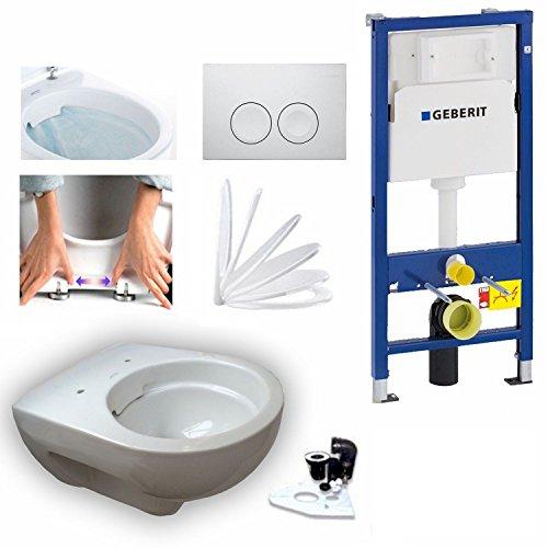 Geberit Duofix Vorwandelement mit Delta 21, Keramag Renova Nr. 1, rimfree, Spülrandlos, Tiefspül-WC, inkl. Sitz und Beschichtung