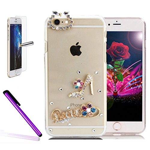iPhone 6 Plus/iPhone 6S Plus PC éclat brillant strass Coque, newstars stéréo papillon strass cristal diamant Transparent Plaqué Bumper Coque de protection pour iPhone 6 Plus/iPhone 6S Plus léger coque Diamond -High-heeled shoes