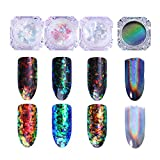 Born Pretty 3 Boxes 0.2g Nail Art Chameleon Cloud Paillette Iridescent Flakies Powder Irregular Nail Sequins Flakes with 1 Box Holographic Laser Rainbow Powder Chrome Pigment Manicure