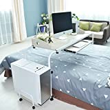 """DlandHome Mobile Overbed Table 47"""" Crossbed Nursing Table Computer Table for Bed Hospital Use, White Maple"""