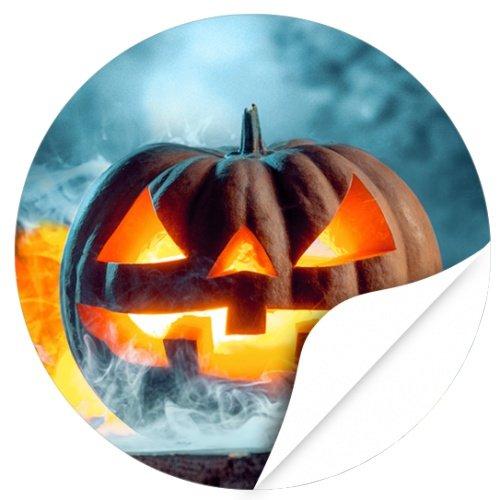 Halloween Dekoration/Aufkleber/Sticker/48 Stück/Kürbis im Nebel 2 zum Kleben/Dekorieren/Selbstklebend/Rund, 4cm