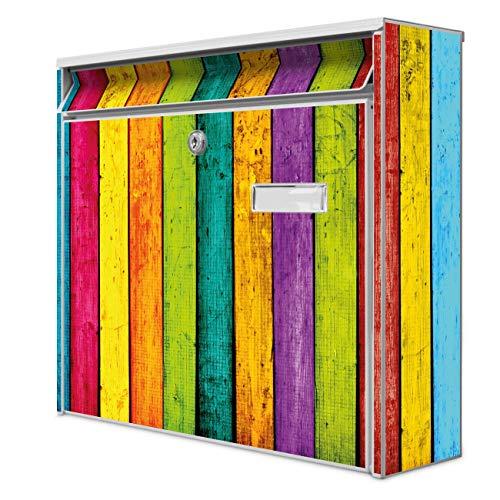 Burg Wächter Design Briefkasten | Postkasten 36 x 32 x 10cm groß | Stahl weiß verzinkt mit Namensschild | großer A4 Einwurf, 2 Schlüssel | Motiv Bunte Holzlatten