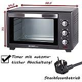 TZS First Austria - 30 Liter, 1600 Watt Minibackofen mit Innenbeleuchtung und Umluft herausnehmbares Krümelblech | Mini Pizza-Ofen | Doppelglastür | Timer | Backofen | Mini Backofen | Pizzaofen Test
