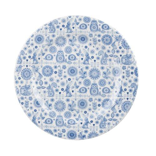 Queens The Caravan Trail Penzance Assiette en faïence 26 cm (Bleu/blanc/motif Open Rows &Lot de 4