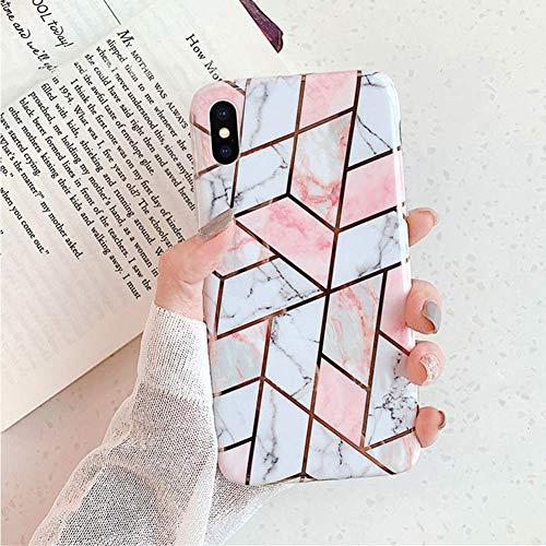 Herbests Kompatibel mit iPhone XR Handyhülle Marmor Matt Marble Muster Schutzhülle Dünn Handytasche Glitzer Glänzend Ultradünn Transparent Durchsichtige Silikon Hülle Case,Pink Weiß