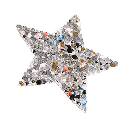 SM SunniMix Strass Motiv Bügelbild Ornament, Strass Perlen Bügelbilder Motiv, Hotfix Transfermotiv Strassbild für DIY-Kleidung - 6 cm Fünfzackige Sterne -