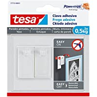 Tesa 77772-00001-00 Clavo Adhesivo para Paredes pintadas y Yeso 0,5 kg, Blanco, Set de 2 Piezas