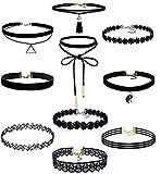 10 Stück Choker Halsketten Set Gothic Tattoo Spitze Choker Ketten Stretch Samt Classic, schwarz (10Stück)