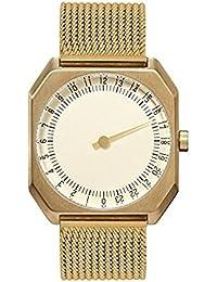 Slow Jo 23 - toutes les en maille or montre à quartz unisexe avec cadran doré, affichage analogique et bracelet en acier inoxydable plaqué or doré