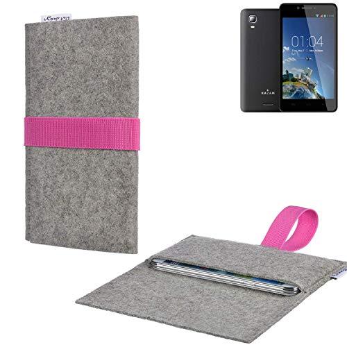flat.design Handy Tasche Aveiro mit Filz-Deckel und Gummiband-Verschluss für Kazam Trooper 2 6.0 - Sleeve Case Etui Filz Made in Germany hellgrau rosa - passgenaue Handyhülle für Kazam Trooper 2 6.0